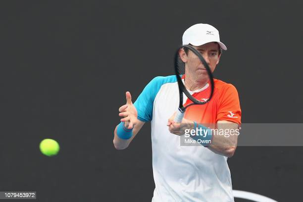 JohnPatrick Smith of Australia hits a forehand in his match against Matthias Bachinger of Germany during day two of Qualifying for the 2019...