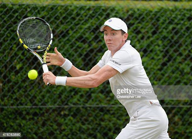 JohnPatrick Smith of Australia in action against Bjorn Fratangelo of USA in the Gentlemens Second Round during the 2015 Wimbledon Qualifying Session...