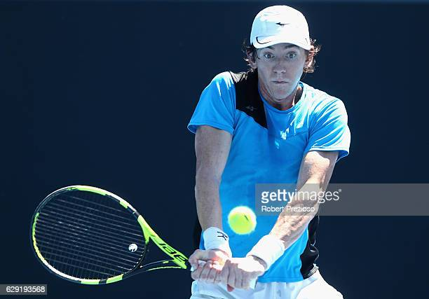 JohnPatrick Smith of Australia plays a backhand during the Australian Open December Showdown at Melbourne Park on December 12 2016 in Melbourne...