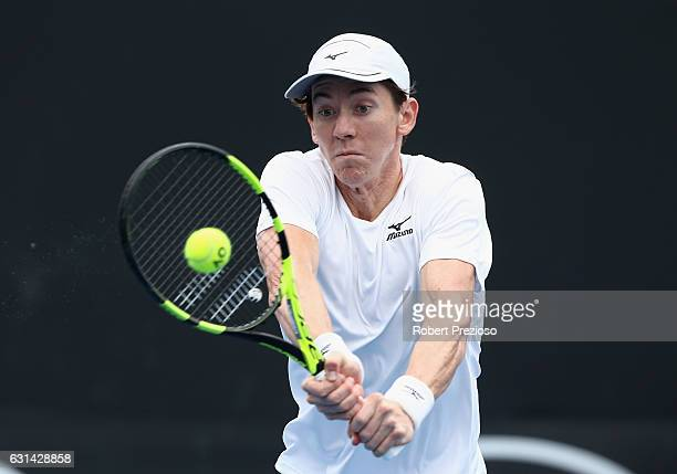 JohnPatrick Smith of Australia plays a backhand in his 2017 Australian Open Qualifying match against Agustin Velotti of Argentina at Melbourne Park...