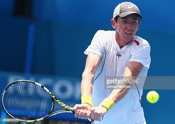 JohnPatrick Smith of Australia plays a backhand in his final qualifying match against Alex Bogomolov from Russia during day one of the Sydney...