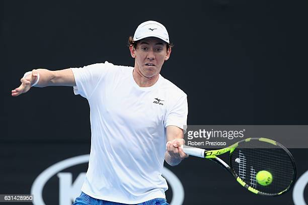 JohnPatrick Smith of Australia plays a forehand in his 2017 Australian Open Qualifying match against Agustin Velotti of Argentina at Melbourne Park...