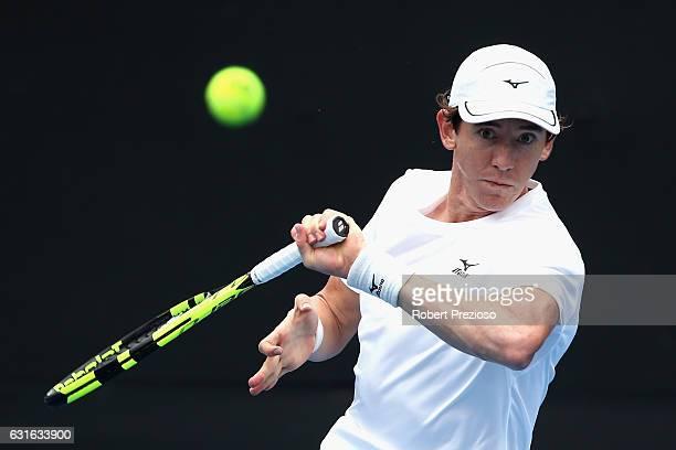 JohnPatrick Smith of Australia plays a forehand in his 2017 Australian Open Qualifying match against Radek Stepanek of Czech Republic at Melbourne...