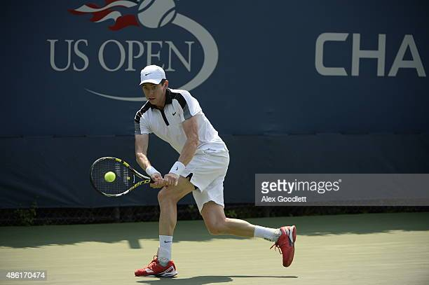 JohnPatrick Smith of Australia returns a shot against Mikhail Youzhny of Russian during their Men's Singles First Round match on Day Two of the 2015...