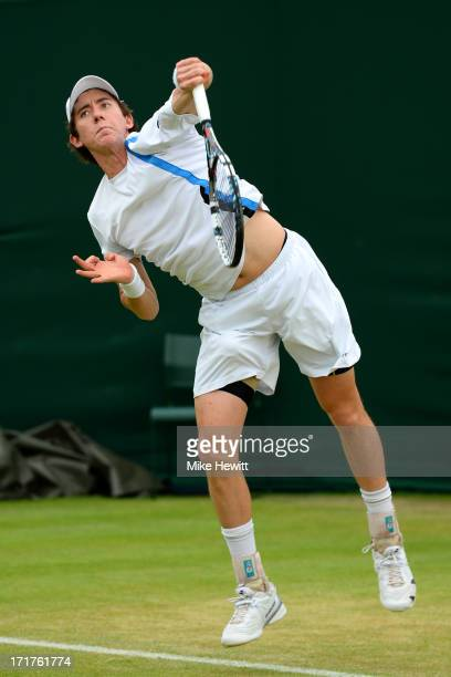 JohnPatrick Smith of Australia serves during the Gentlemen's Doubles second round match against Alexander Peya of Austria and Bruno Soares of Brazil...