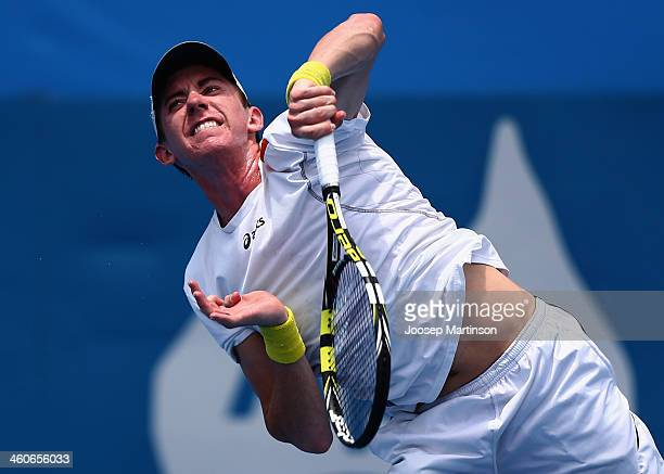 JohnPatrick Smith of Australia serves in his final qualifying match against Alex Bogomolov from Russia during day one of the Sydney International at...