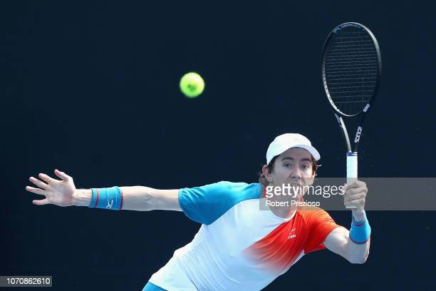 JohnPatrick Smith plays a forehand in his match against Jeremy Beale during the 2019 Australian Open Playoff match at Melbourne Park on December 10...