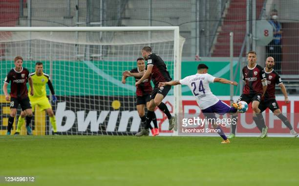 John-Patrick Strauß of Erzgebirge Aue in action during the DFB Cup first round match between FC Ingolstadt 04 and Erzgebirge Aue at Audi Sportpark on...