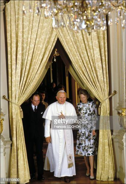 John-Paul II visits the Royal family of Luxembourg on May 15, 1985 - Grand Duke Jean, John-Paul II and Grand Duchess of Luxembourg...