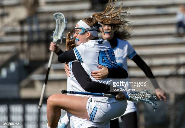Johns Hopkins Aurora Cordingley celebrates after a goal during a women's college Lacrosse game between the Johns Hopkins Blue Jays and the Hofstra...