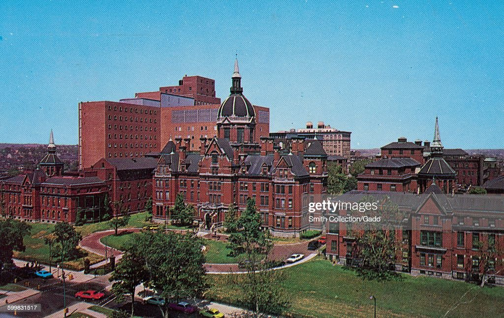 Johns Hopkins Hospital, postcard showing main building of