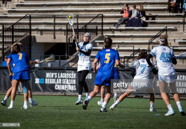 Johns Hopkins Shannon Fitzgerald sets up a pass during a women's college Lacrosse game between the Johns Hopkins Blue Jays and the Hofstra Pride on...