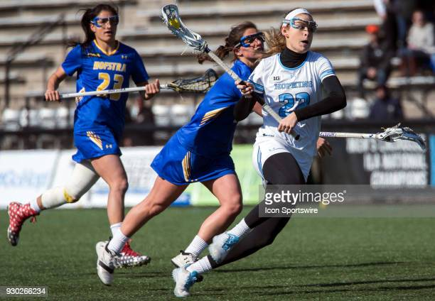 Johns Hopkins Shannon Fitzgerald winds up for a shot during a women's college Lacrosse game between the Johns Hopkins Blue Jays and the Hofstra Pride...