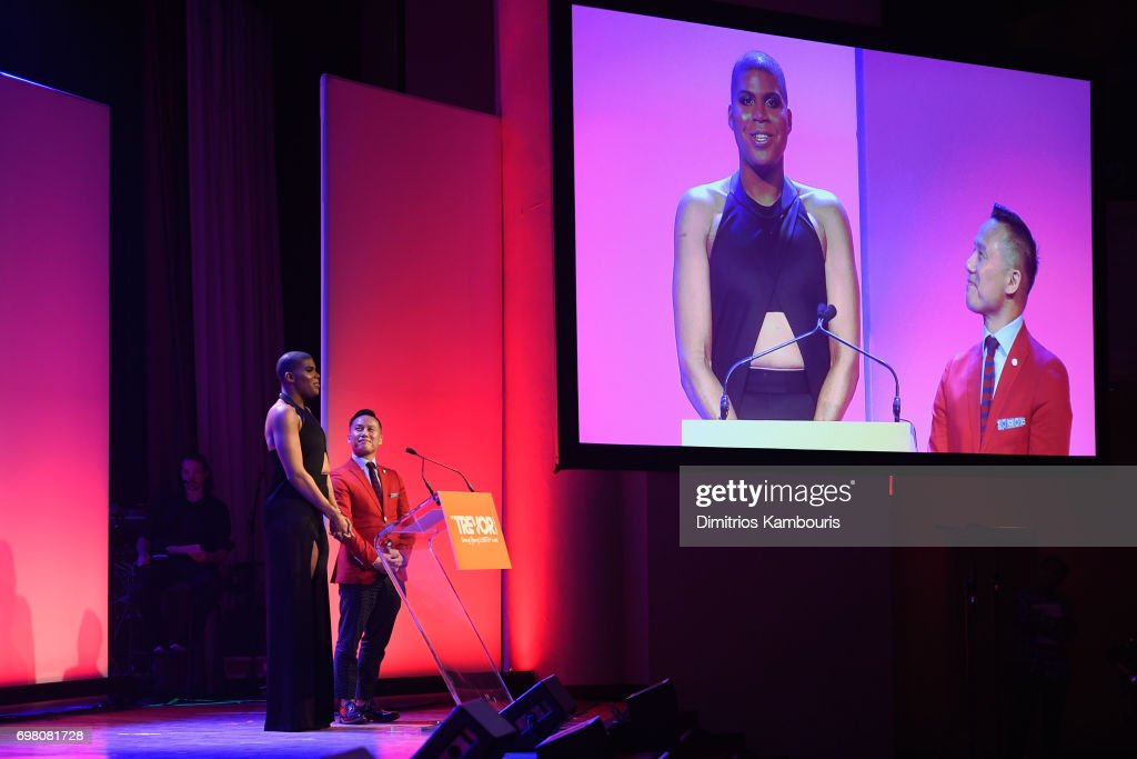 EJ Johnson (L) and BD Wong speak onstage during The Trevor Project TrevorLIVE NYC 2017 at Marriott Marquis Times Square on June 19, 2017 in New York City.