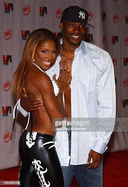 AJ Johnson and Tyson Beckford during 2003 VIBE Awards Arrivals at Civic Auditorium in Santa Monica California United States