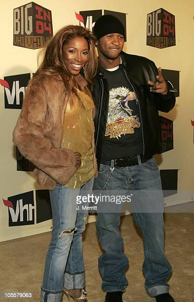 AJ Johnson and Usher during VH1 Big in '04 Arrivals at Shrine Auditorium in Los Angeles California United States