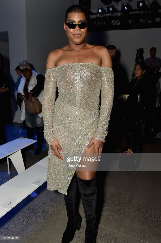 EJ Johnson attends the Laquan Smith front row during New York Fashion Week: The Shows at Gallery I at Spring Studios on February 14, 2018 in New York City.