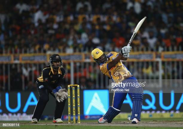Johnson Charles of Bengal Tigers bats during the T10 League match between Bengal Tigers and Kerala Kings at Sharjah Cricket Stadium on December 14...