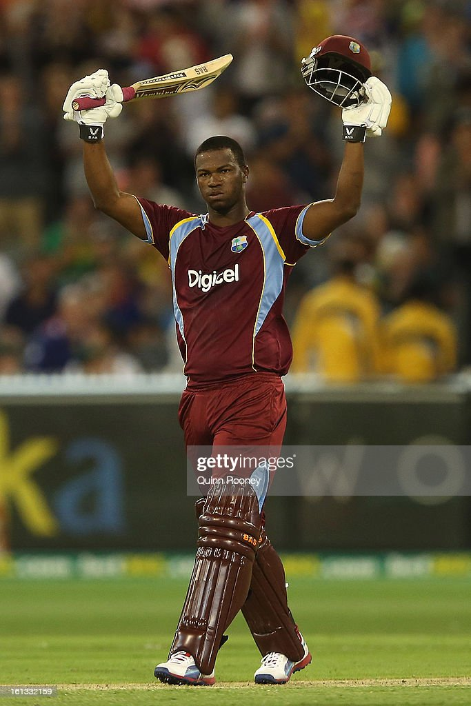 Johnson Charles of the West Indies celebrates making 100 runs during game five of the Commonwealth Bank International Series between Australia and the West Indies at Melbourne Cricket Ground on February 10, 2013 in Melbourne, Australia.