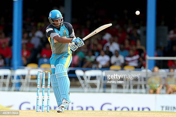 Johnson Charles pulls during a match between The Trinidad and Tobago Red Steel and St. Lucia Zouks as part of the week 3 of Caribbean Premier League...