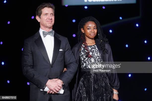 Johnson Johnson CEO Alex Gorsky and Diamond Walker attend the Jackie Robinson Foundation 2017 Annual Robie Awards Dinner at Marriott Marquis Times...