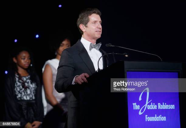 Johnson Johnson CEO Alex Gorsky speaks onstage during the Jackie Robinson Foundation 2017 Annual Robie Awards Dinner at Marriott Marquis Times Square...