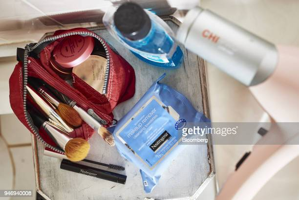 Johnson Johnson Neutrogena brand healthy lengths mascara and makeup remover cleansing towelettes are arranged for a photograph in the Brooklyn...