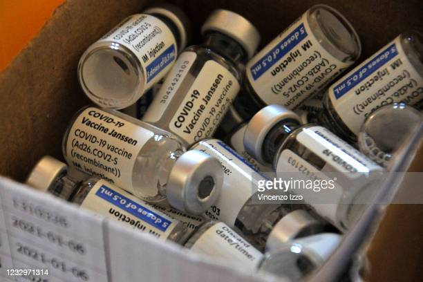 Johnson & Johnson vaccine bottles used to prepare the doses to be administered to patients, during the vaccination day at Villa Marchitto in the city...