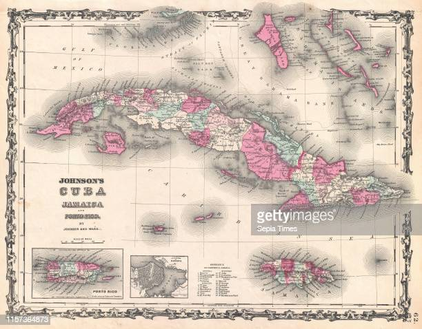 1862 Johnson Map of Cuba and Porto Rico
