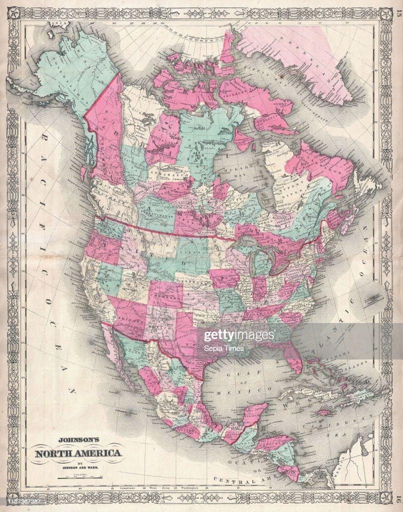 1864, Johnson Map of North America, Canada, United States ...