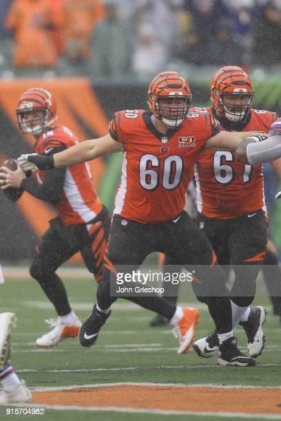 J Johnson of the Cincinnati Bengals pass blocks during the game against the Buffalo Bills at Paul Brown Stadium on Ocotbe 8 2017 in Cincinnati...