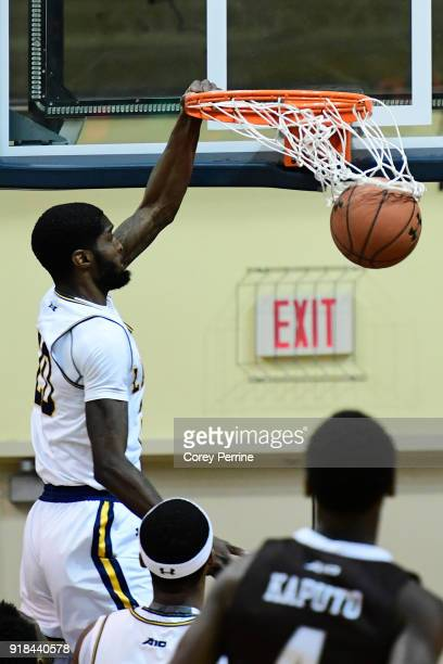 J Johnson of the La Salle Explorers dunks against the St Bonaventure Bonnies during the first half at Tom Gola Arena on February 13 2018 in...