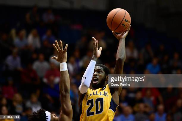 J Johnson of the La Salle Explorers shoots the ball over EC Matthews of the Rhode Island Rams during the second half at Tom Gola Arena on February 20...