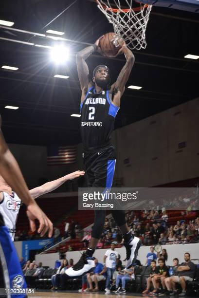 Johnson of the Lakeland Magic dunks against the Capital City Go-Go during the game on February 20, 2019 at RP Funding Center in Lakeland, Florida....