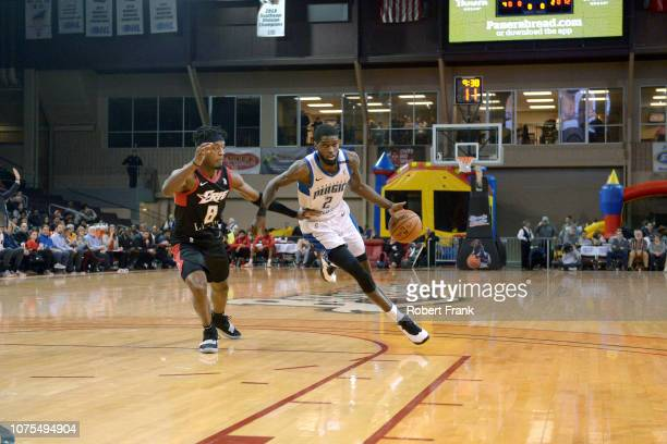 Johnson of the Lakeland Magic handles the ball against the Erie BayHawks during the NBA G League on December 28 2018 at the Erie Insurance Arena in...