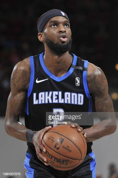 Johnson of the Lakeland Magic shoots a free throw against the Capital City Go-Go on January 15, 2019 at RP Funding Center in Lakeland, Florida. NOTE...