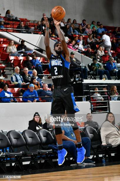 Johnson of the Lakeland Magic shoots against the College Park Skyhawks during the game on November 16 2019 at RP Funding Center in Lakeland Florida...