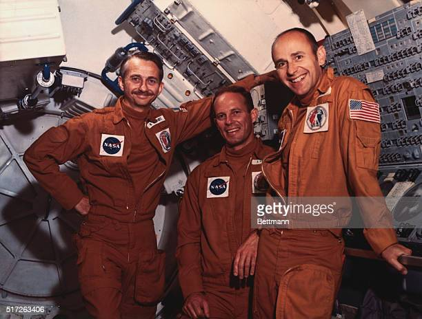 Johnson Space Center Houston Texas Skylab III astronauts Dr Own K Garriott science pilot Jack R Lousma pilot and Alan L Bean commander The fiftysix...