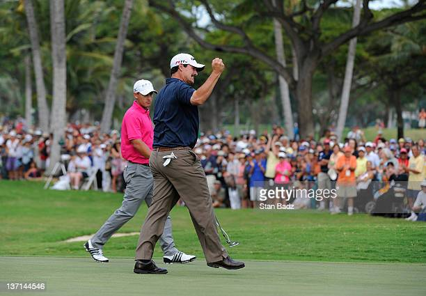 Johnson Wagner celebrates on the 18th green after winning the final round of the Sony Open in Hawaii at Waialae Country Club on January 15 2012 in...