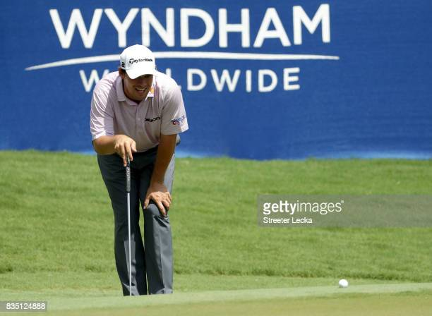 Johnson Wagner lines up a putt on the 18th hole during the second round of the Wyndham Championship at Sedgefield Country Club on August 18 2017 in...