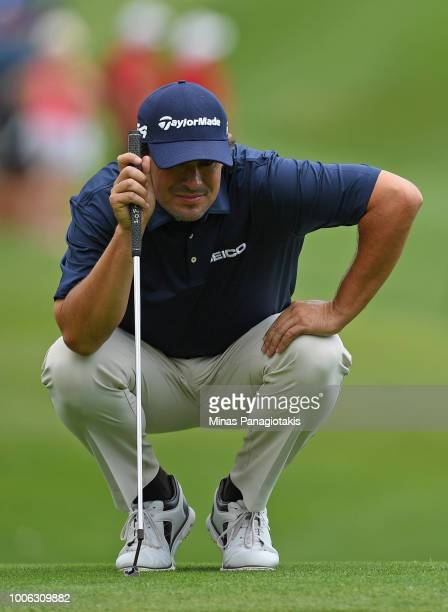 Johnson Wagner lines up a putt on the ninth green during the second round at the RBC Canadian Open at Glen Abbey Golf Club on July 27 2018 in...