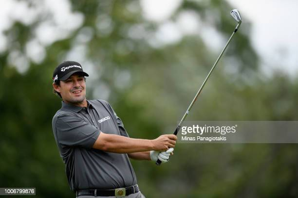 Johnson Wagner plays his shot from the fourth tee during the third round at the RBC Canadian Open at Glen Abbey Golf Club on July 28 2018 in Oakville...