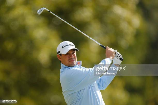 Johnson Wagner plays his shot from the fourth tee during the third round of the Sanderson Farms Championship at the Country Club of Jackson on...