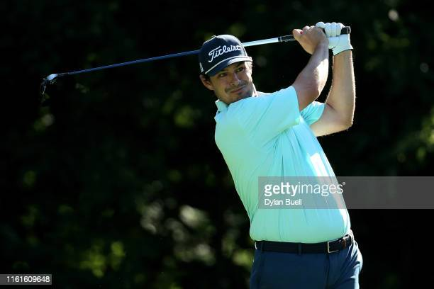 Johnson Wagner plays his shot from the second tee during the second round of the John Deere Classic Austen Truslow TPC Deere Run on July 12 2019 in...