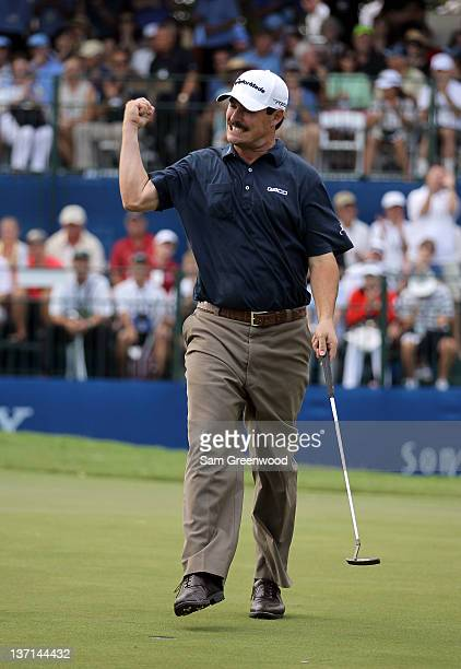 Johnson Wagner reacts after winning the Sony Open in Hawaii at Waialae Country Club on January 15 2012 in Honolulu Hawaii
