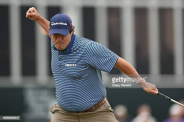 Johnson Wagner reacts to birdie on the eighteenth green during the final round of the Shell Houston Open at the Golf Club of Houston on April 5 2015...