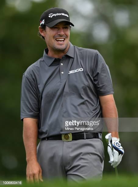 Johnson Wagner reacts to his shot from the fourth tee during the third round at the RBC Canadian Open at Glen Abbey Golf Club on July 28 2018 in...