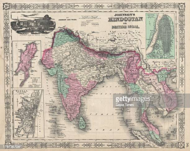 1865 Johnson's Map of India Hindostan or British India