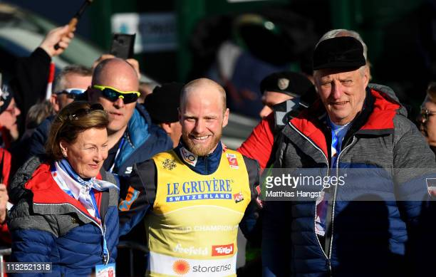 Johnsrud Marty Sundby of Norway celebrate winning the gold medal with celebrate with Queen Sonja of Norway and King Harald V of Norway after the...