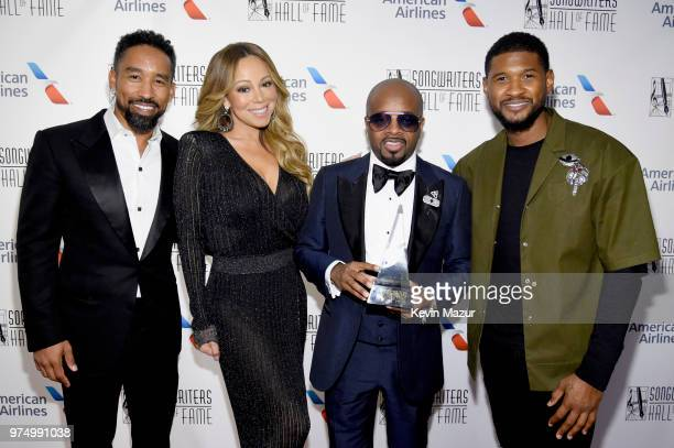 Johnta Austin Mariah Carey Jermaine Dupri and Usher Raymond pose backstage during the Songwriters Hall of Fame 49th Annual Induction and Awards...